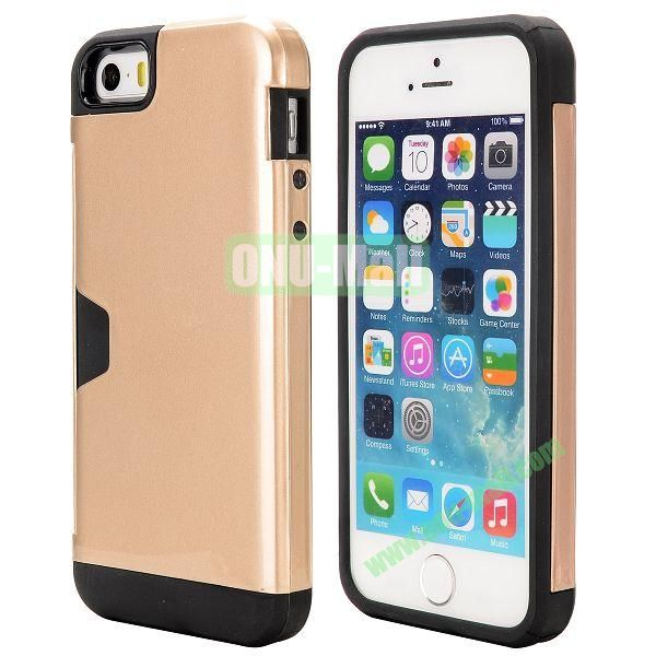 Hybrid PC and TPU Case for iPhone 5S 5 with Card Inserts on the Back (Champagne)