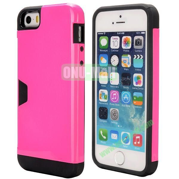 Hybrid PC and TPU Case for iPhone 5S 5 with Card Inserts on the Back (Rose)