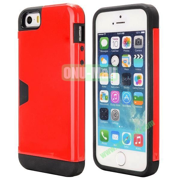 Hybrid PC and TPU Case for iPhone 5S 5 with Card Inserts on the Back (Red)