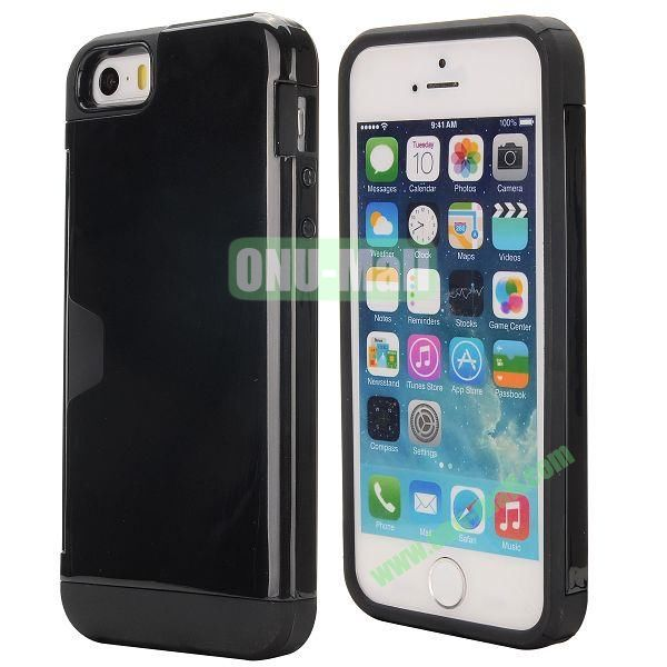Hybrid PC and TPU Case for iPhone 5S 5 with Card Inserts on the Back (Black)