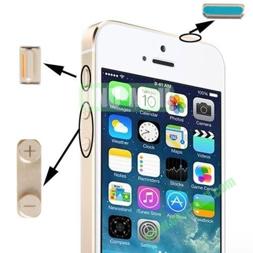 3 in 1 Metal Alloy Side Buttons Set for iPhone 5S with Mute Button + Power Button + Volume Button (Gold)
