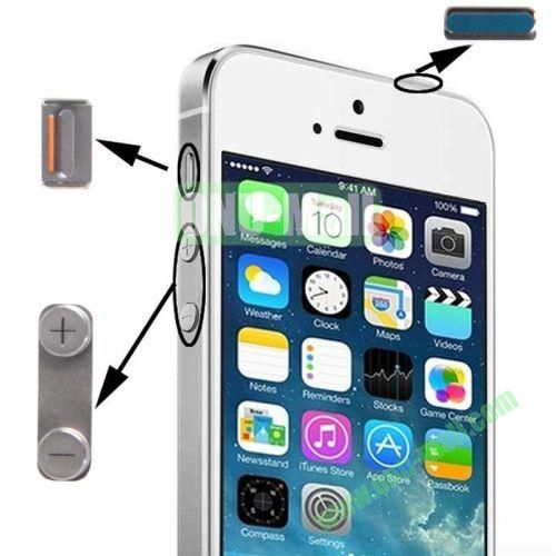 3 in 1 Metal Alloy Side Buttons Set for iPhone 5S with Mute Button + Power Button + Volume Button (Silver)