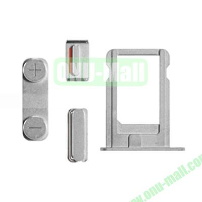 Replacement Side Button Spare Parts For iPhone 5S with Volume Button Mute Button Power Button And Nano SIM Card Tray (Silver)