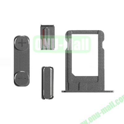Replacement Side Button Spare Parts For iPhone 5S with Volume Button Mute Button Power Button And Nano SIM Card Tray (Grey)