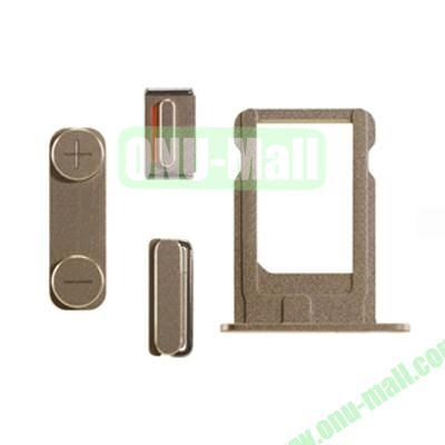 Replacement Side Button Spare Parts For iPhone 5S with Volume Button Mute Button Power Button And Nano SIM Card Tray (Gold)