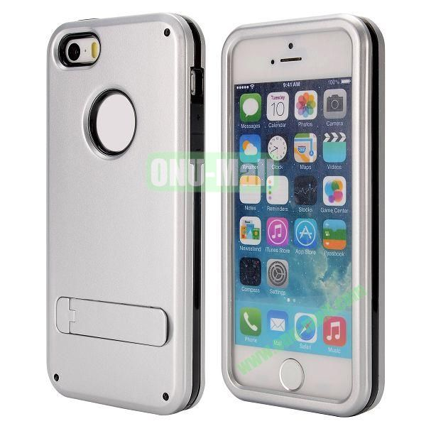 Brand Newest TPU and PC Hybrid Case for iPhone 55S with a Stander (Silver)