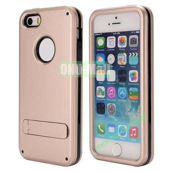 Brand Newest TPU and PC Hybrid Case for iPhone 55S with a Stander (Gold)