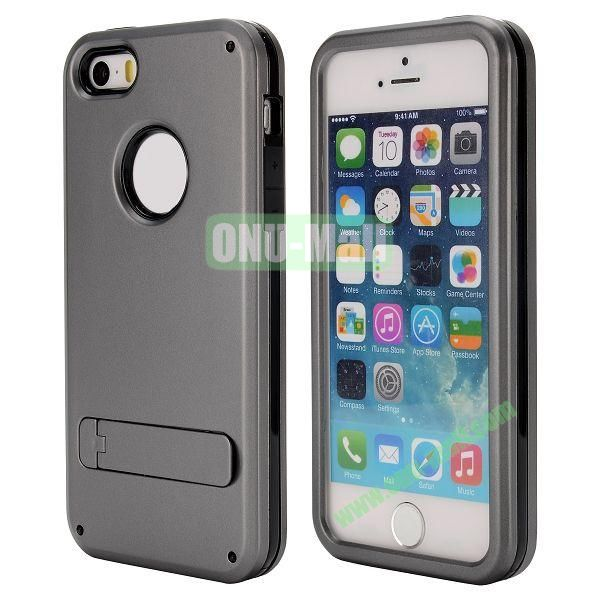 Brand Newest TPU and PC Hybrid Case for iPhone 55S with a Stander (Grey)