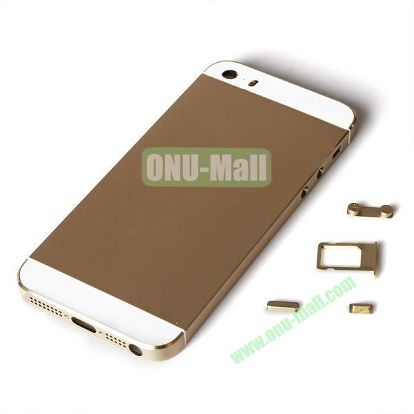 Silver Profession Replacement Back Battery Housing Cover for iPhone 5S with Sim Tray +Mute Button + Power Button + Volume Button (Champagne Gold)