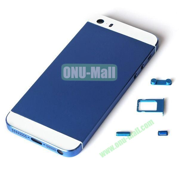 Silver Profession Replacement Back Battery Housing Cover for iPhone 5S with Sim Tray +Mute Button + Power Button + Volume Button (Blue)