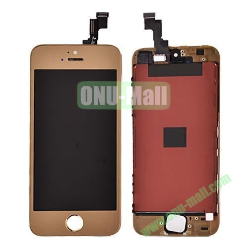 Electroplated Digitizer Touch Screen Replacement Parts for iPhone 5S (Gold)