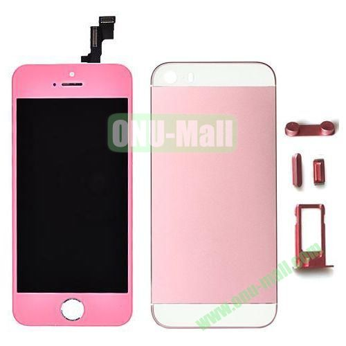 LCD Assembly Replacement for iPhone 5S with Display+Touch Digitizer Screen+Back Cover+SIM Card Holder+Volume Buttons+Mute button+Power Button (Pink)