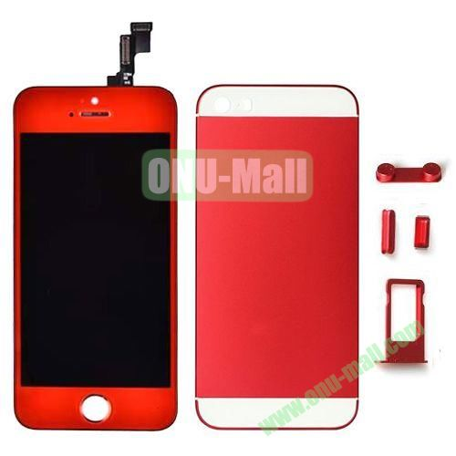 LCD Assembly Replacement for iPhone 5S with Display+Touch Digitizer Screen+Back Cover+SIM Card Holder+Volume Buttons+Mute button+Power Button (Red)