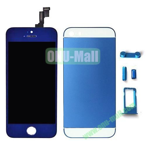 LCD Assembly Replacement for iPhone 5S with Display+Touch Digitizer Screen+Back Cover+SIM Card Holder+Volume Buttons+Mute button+Power Button (Blue)
