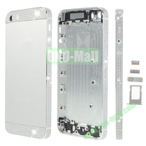 Bling Style Top Bottom and Apple Logo Rhinestone Inlaid Full Housing Faceplate Replacement for iPhone 5S with Side Buttons SIM Card Tray (Silver)
