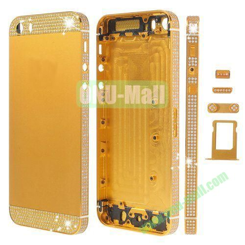 Bling Style Top Bottom and Apple Logo Rhinestone Inlaid Full Housing Faceplate Replacement for iPhone 5S with Side Buttons SIM Card Tray (Yellow)