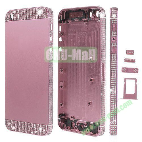 Bling Style Top Bottom and Apple Logo Rhinestone Inlaid Full Housing Faceplate Replacement for iPhone 5S with Side Buttons SIM Card Tray (Pink)