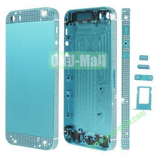 Bling Style Top Bottom and Apple Logo Rhinestone Inlaid Full Housing Faceplate Replacement for iPhone 5S with Side Buttons SIM Card Tray (Light Blue)
