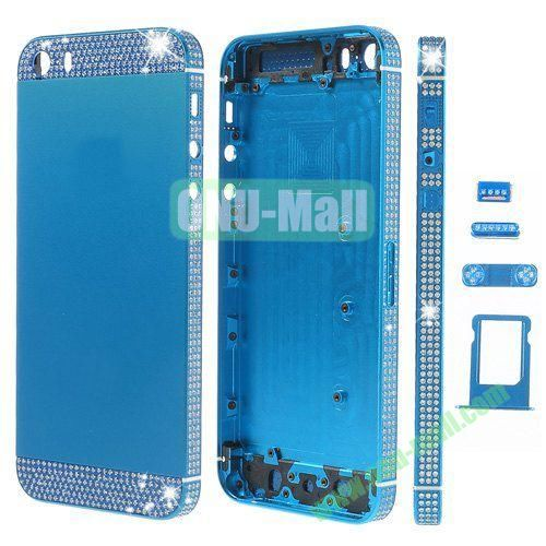 Bling Style Top Bottom and Apple Logo Rhinestone Inlaid Full Housing Faceplate Replacement for iPhone 5S with Side Buttons SIM Card Tray (Blue)
