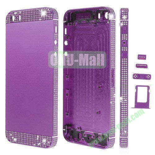 Bling Style Top Bottom and Apple Logo Rhinestone Inlaid Full Housing Faceplate Replacement for iPhone 5S with Side Buttons SIM Card Tray (Purple)