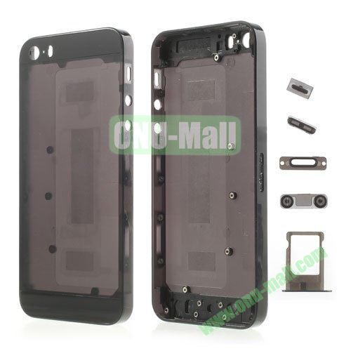 Plastic Full Housing Faceplates with Small Parts for iPhone 5S (Black)