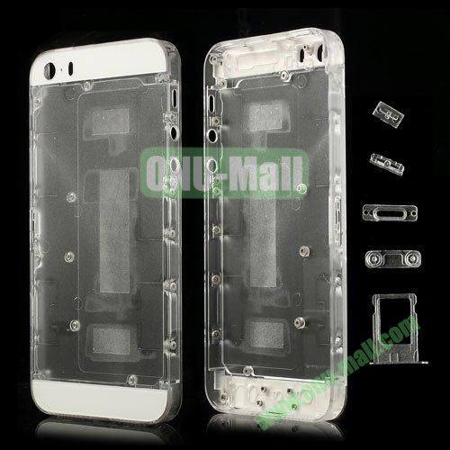 Plastic Full Housing Faceplates with Small Parts for iPhone 5S (Transparent)