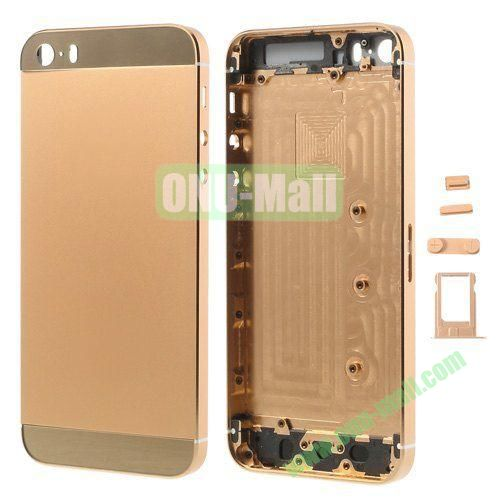 Smooth Metal Full Housing Faceplate with Side Buttons SIM Card Tray Replacement for iPhone 5S (Champagne Gold)