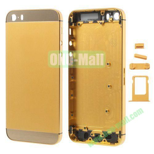 Smooth Metal Full Housing Faceplate with Side Buttons SIM Card Tray Replacement for iPhone 5S (Gold)