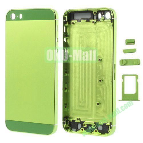 Smooth Metal Full Housing Faceplate with Side Buttons SIM Card Tray Replacement for iPhone 5S (Green)