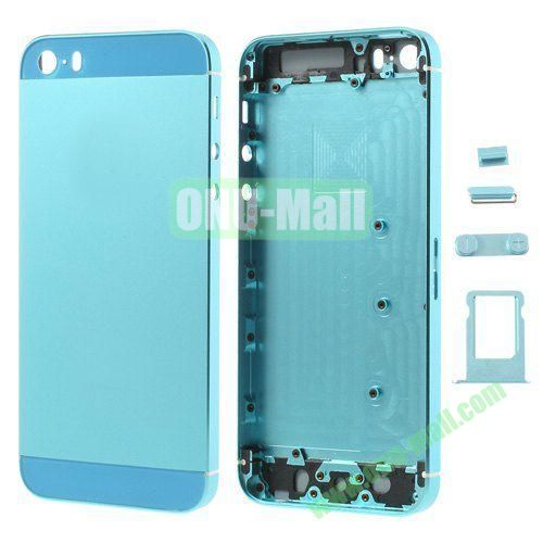 Smooth Metal Full Housing Faceplate with Side Buttons SIM Card Tray Replacement for iPhone 5S (Light Blue)