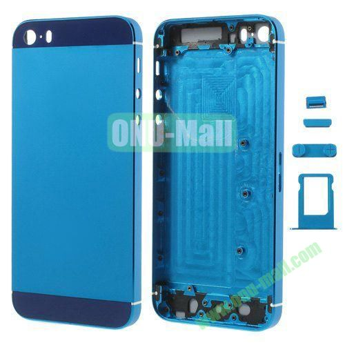 Smooth Metal Full Housing Faceplate with Side Buttons SIM Card Tray Replacement for iPhone 5S (Blue)