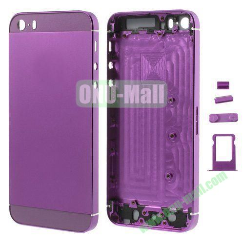 Smooth Metal Full Housing Faceplate with Side Buttons SIM Card Tray Replacement for iPhone 5S (Purple)