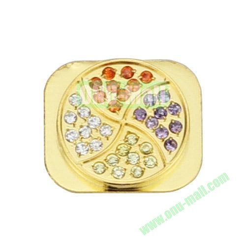 Colorized Windmill Rhinestone Inlaid Home Button Key Replacement Spare Part for iPhone 5S (Gold)