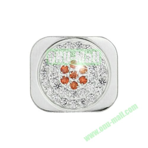 Glittering Rhinestone Inlaid Home Button Key Replacement Spare Part for iPhone 5S (Silver+Orange)