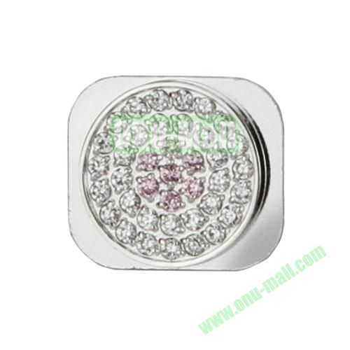 Glittering Rhinestone Inlaid Home Button Key Replacement Spare Part for iPhone 5S (Silver+Pink)