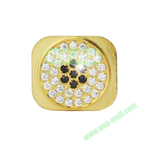 Sparkling Diamante Inlaid Gold Home Button Key Replacement Spare Part for iPhone 5S (Silver+Black)