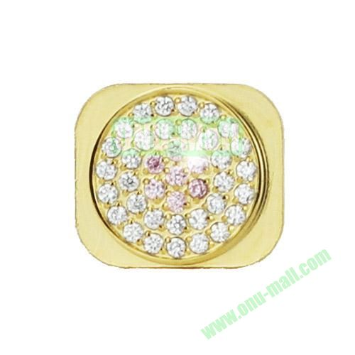 Sparkling Diamante Inlaid Gold Home Button Key Replacement Spare Part for iPhone 5S (Silver+Pink)