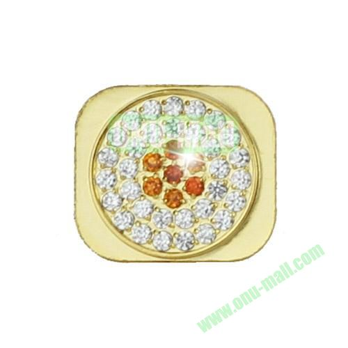 Sparkling Diamante Inlaid Gold Home Button Key Replacement Spare Part for iPhone 5S (Silver+Orange)