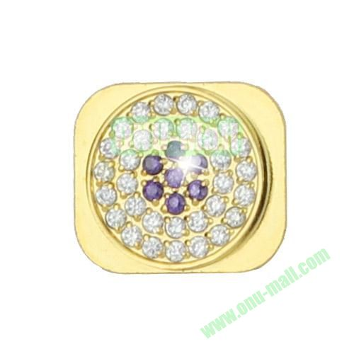 Sparkling Diamante Inlaid Gold Home Button Key Replacement Spare Part for iPhone 5S (Silver+Purple)