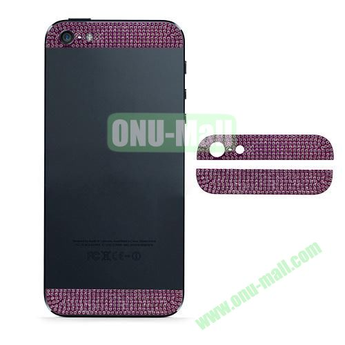 Diamond Metal Top and Bottom Cover Replacement for iPhone 5S (Purple)