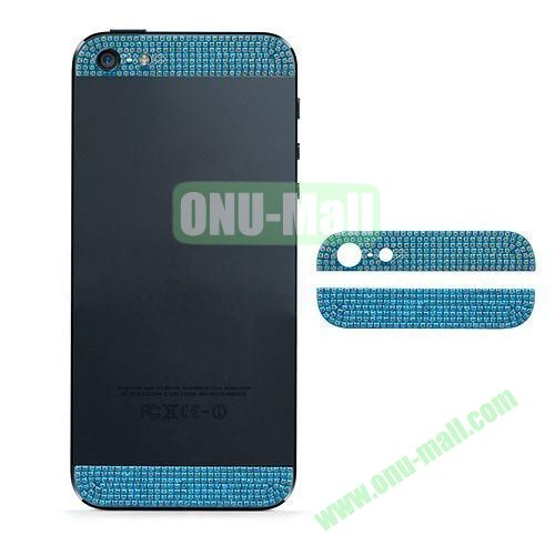 Diamond Metal Top and Bottom Cover Replacement for iPhone 5S (Light Blue)
