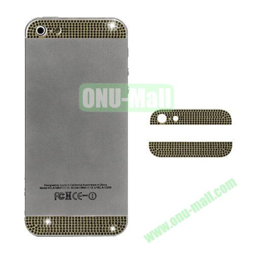 Diamond Metal Top and Bottom Cover Replacement for iPhone 5S (Gold)