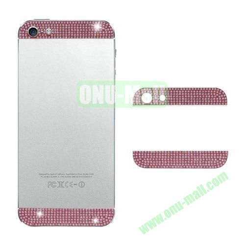 Diamond Metal Top and Bottom Cover Replacement for iPhone 5S (Pink)
