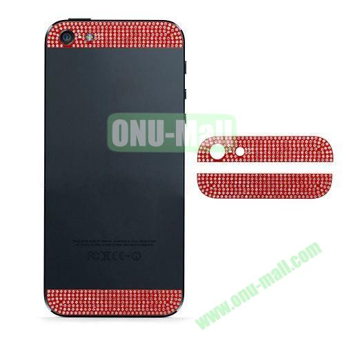 Diamond Metal Top and Bottom Cover Replacement for iPhone 5S (Red)