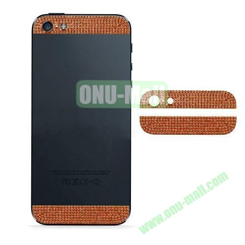 Diamond Metal Top and Bottom Cover Replacement for iPhone 5S (Orange)