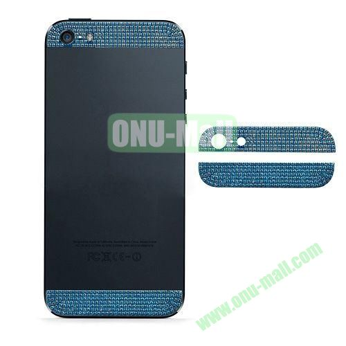 Diamond Metal Top and Bottom Cover Replacement for iPhone 5S (Blue)