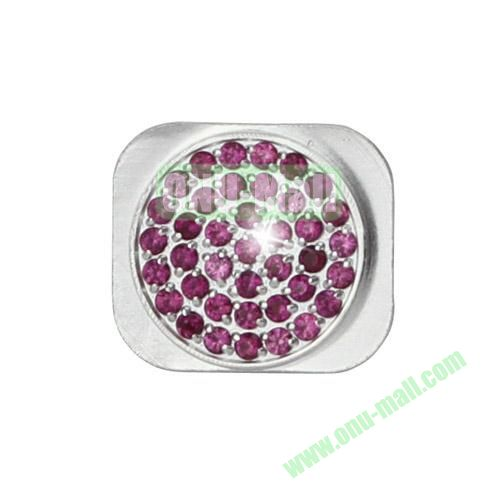 Bling Bling Diamond Inlaid Home Button Key Replacement Spare Part for iPhone 5S (Silver+Purple)