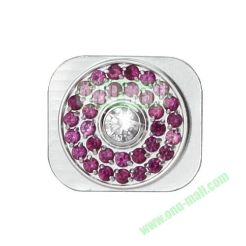 Glittering Rhinestone Inlaid Silver Home Button Key Replacement Spare Part for iPhone 5S (White+Purple)