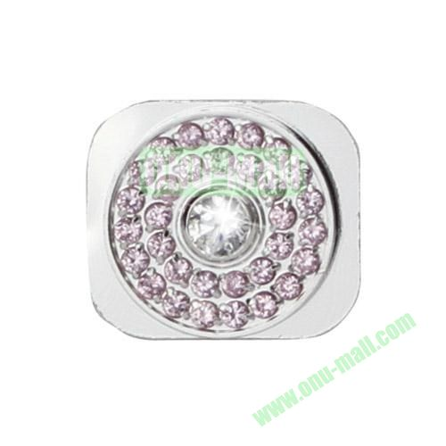 Glittering Rhinestone Inlaid Silver Home Button Key Replacement Spare Part for iPhone 5S (White+Pink)