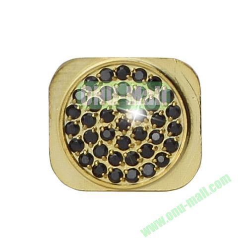 Shiny Rhinestone Inlaid Gold Home Button Key Replacement Spare Part for iPhone 5S (Black)